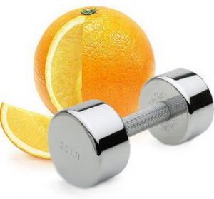 Апельсин и гантеля