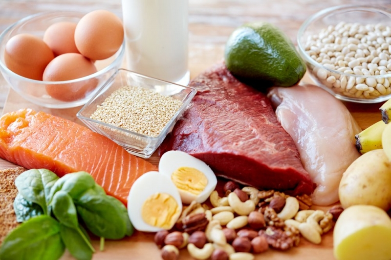 Разнообразные продукты, богатые белком