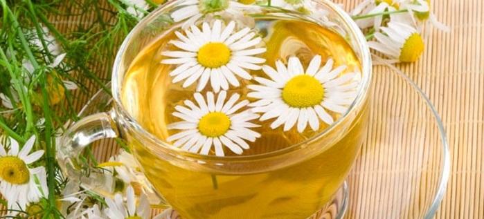 Чашка с чаем из цветков ромашки