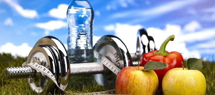 Вода, яблоки, гантель - атрибуты здоровья